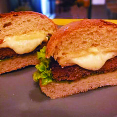 Gorgeous sandwich with hamburger and fried cheees!