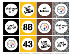 #printables Pittsburgh Steelers candy bar wrappers, pennants, cupcake wrappers!