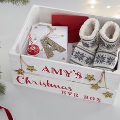 Christmas Gift Box Ideas - How to Make a Stencilled Christmas Eve Box Christmas Eve Crate, Xmas Eve Boxes, Personalised Christmas Eve Box, Christmas Wrapping, Christmas Makes, First Christmas, Christmas Crafts, Christmas Decorations, Christmas Ideas