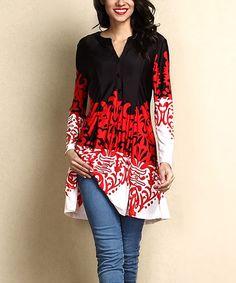 Look what I found on #zulily! Black & White Scroll-Print Button-Front Shift Tunic #zulilyfinds