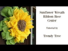 We've updated our sunflower wreath using a stacked wreath method and added a burlap ribbon rose for the center. Using the stacked wreath method results in Sunflower Burlap Wreaths, Burlap Flowers, Paper Flowers Diy, Burlap Ribbon, Diy Paper, Paper Mesh, Paper Roses, Fabric Flowers, Trendy Tree
