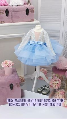 Baby Birthday Dress, Birthday Dresses, Newborn Girl Dresses, Baby Dress, Blue Dresses, Girls Dresses, Flower Girl Dresses, Wedding Dress Chiffon, Wedding Dresses