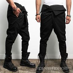 Avant garde mens fashion | Avant Garde Mens Fashion Big Over Baggy Black Sweapants Gentlershop ...
