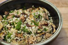 Mushroom and Barley Salad (Serves 4) : : : Spiked with nutty, toasted walnuts and the fresh crispness of peppery parsley, balanced against the buttery mushrooms and chewy barley.