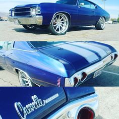 71 chevelle blue and white with concave multi spoke wheels