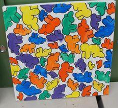 Keith Haring door kleuters: werd geveild op het grootouderfeest