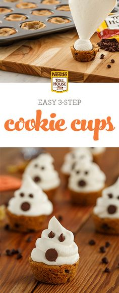 Dress up your Halloween treat game this year with a batch of Haunted Cookie Cups. Incredibly easy to make and perfect for parties, this spooky recipe will have your guests gasping over these ghoulishly adorable treats. Grab the recipe and bake some of the Halloween Desserts, Holiday Desserts, Holiday Treats, Halloween Treats, Halloween Baking, Halloween Foods, Halloween Cookies, Halloween Party, Halloween Dishes