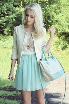 So sweet.  Love the lace top and long necklace.