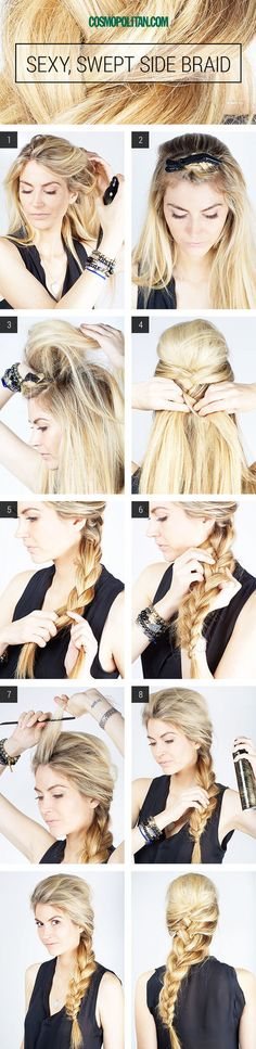 http://www.cosmopolitan.com/hairstyles-beauty/beauty-blog/hair-tutorial-sexy-swept-side-braid  One of my favorite hairstyles!