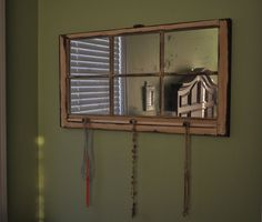 Antiqued Mirror  Window Frame with Knobs on Etsy, $110.00