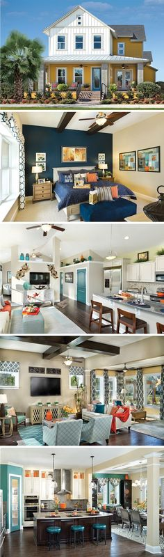 The Reef by David Weekley Homes in Laureate Park at Lake Nona Village is a 4 bedroom floorplan that features a lanai, a large open kitchen and family room area, and beautiful wooden ceiling beams in the family room and master bedroom. Custom home upgrades include a sunroom, a media room on the second story or french doors in the study.
