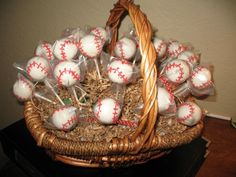 Baseball party favors cake pops