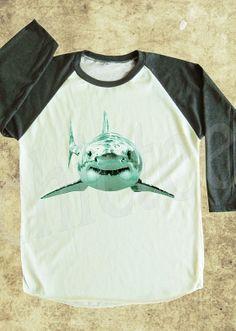 SHARK tshirt animal tshirt shark shirt women t shirt unisex t shirt raglan tee baseball shirt 3/4 long sleeve shirt size S M L on Etsy, $18.00