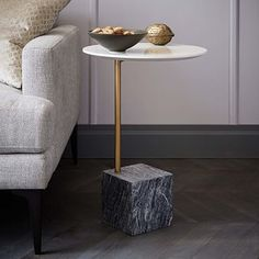 Shop west elm for modern accent tables and living room tables. Choose from a great selection of stylish side tables, modern console and coffee tables. Cube Side Table, White Side Tables, Thin Side Table, New Furniture, Table Furniture, Pedestal Side Table, La Rive, Gray Marble, Marble Wood