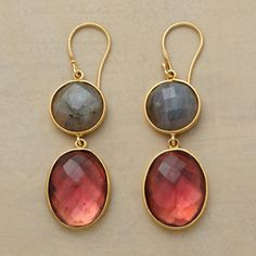"""A big, bold and colorful duet of labradorite and pink quartz. Handcrafted with 22kt goldplate. Exclusive. 2-1/8""""L."""
