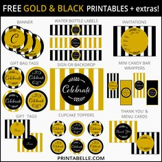 Free Gold & Black Party Printables and more!