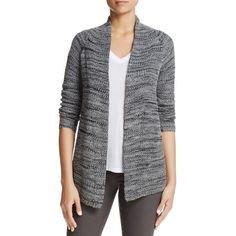 Nic+Zoe Thick and Thin Marled Cardigan ($66) ❤ liked on Polyvore featuring tops, cardigans, lichen, knit cardigan, open knit cardigan, open cardigan, thick cardigan and marled open front cardigan