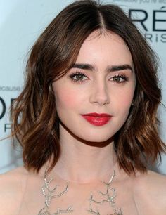Lily Collins, textured Bob- 50 Best Celebrity Hair Looks 2013 | ELLE UK