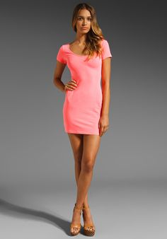MONROW Double Scoop Tee Dress in Electric Coral at Revolve Clothing -