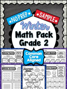 This is a **FREE** 5 PAGE SAMPLE taken from my 2nd Grade Winter NO PREP Math Pack. Enjoy! #2ndGrade #CommonCore