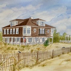15 by 20 custom watercolor painting 🖼 Watercolor Artwork, Watercolor Portraits, First Home Gifts, Vacation Memories, House Drawing, That Way, Custom Homes, Hand Painted, House Paintings