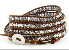 Onyx And Crystal Wrap Bracelet on Dark Brown Leather 5 by VIPbeads