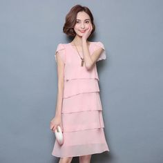 32e56e9f9ea8 Women s Chiffon Layered Fashion Designer Elegant Short Dresses (Plus Size)