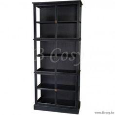 """Lifestyle94-Lifestyle Gaspard Cabinet Black 90X40X210 126229 <span style=""""font-size: 6pt;""""> Uitstalkast-Vitrine-Vitrinekast-Glazenkast-Buffetkast-Buffet-vaisselier-cupboard-display-case-closet-glasvitrine-Schauschrank-glasschrank </span>"""