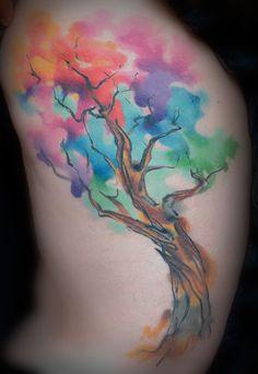 Watercolor Tree Tattoo Pete Zebley, Philadelphia, PA PeteZebleyTattoo.com