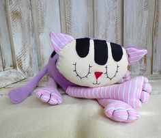 stuffed cute cuddly baby toy, stuffed cat, pink and purpule sleeping cat, first toy, plush cat