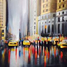 New New York | Paul Kenton Landscape Pictures, Landscape Paintings, Landscapes, New York Drawing, New York Painting, Cool Art Drawings, Art Sketches, Reflection Art, Abstract City