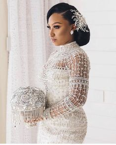 We're still crushing on the blinged out bride and her gorgeous bouquet from ! Repost from - Still one of our Favorites! We named this Bouquet 'The Keisha' after our Beautiful Bride. Wedding Looks, Bridal Looks, Bridal Style, Dream Wedding Dresses, Bridal Dresses, Bridal Outfits, Ball Dresses, Ball Gowns, African American Weddings