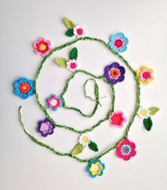 handmade crocheted flower garland by maRRoseCCC on Etsy, $30.00