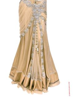 Bridal Lehenga Saree with White Stone Heavy Work