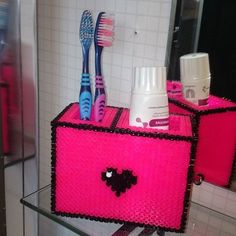 Toothbrush holder hama beads by inger_ngz - Pattern: https://de.pinterest.com/pin/374291419012761126/