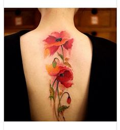 GORGEOUS Water Color Tattoo of Poppies