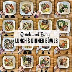 These easy lunch bowls also make quick, healthy options for dinner. They're simple, come together quickly and are packed with vegetables, lean proteins and healthy fats. Healthy Toddler Meals, Healthy Snacks For Diabetics, Healthy Pastas, Healthy Foods To Eat, Healthy Eating, Toddler Food, Healthy Recipe Videos, Easy Healthy Recipes, Real Food Recipes