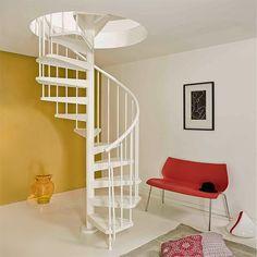 Klikk her for å gå til Spiraltrapp Fontanot Magia 50 Hvit In Loco, Toys In The Attic, Small Terrace, Attic Renovation, Inside Outside, Spiral Staircase, Stairways, New Homes, Living Room