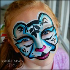Icy White Tiger face paint design by artist Ashlie Alvey of #ChubbyCheeksBodyArt in #Savannah. #Georgia. Bold, beautiful, stylized #animal #facepaint #makeuptutorials