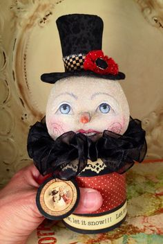Folk Art one of a kind Primitive snowman Christmas candy