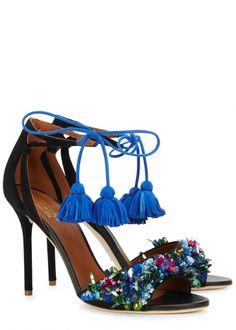 Black embellished suede sandals