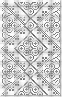 Free crochet chart could be cross stitch >>> Would be a very pretty double-sided knitting pattern! Filet Crochet, Crochet Cross, Crochet Diagram, Crochet Chart, Easy Crochet, Crochet Lace, Crochet Flower Patterns, Crochet Stitches Patterns, Knitting Patterns