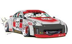 "car illustration original cartoon ""mame mame rock"" / © ozizo jdm japanese old school ""Z33"" 「Ha-ha」"