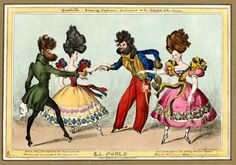 © The Trustees of the British Museum Quadrille - Evening Fashions - Dedicated to the Heads of the Nation. La Poule William Heath, What a hairy quartet! Vintage Dance, Romantic Period, Vintage Drawing, Regency Era, Dance Art, New York Public Library, Old Art, British History, British Museum