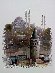 Savaş Simitli Turkey Images, Istanbul City, Oil Painting Pictures, Islamic Paintings, Georges Braque, Marble Art, Soul Art, Historical Architecture, Gouache Painting