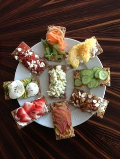 8 Healthy And Delicious Take-To-WorkSnacks    1. Apples and Honey with Nut Butter  2. Avocado and Mozzarella  3. Hummus, Carrot, and Cucumber  4. Egg White Salad  5. Dates and Goat Cheese  6. Tomato and Feta  7. Pineapple and Chipotle  8. Strawberries and Spice