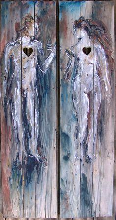 2017.04.22.  Rustic doors  acrylic/ wood desks, 120x30 + 120x30 cm  https://www.facebook.com/andrey.bovtovich