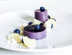 Blueberry & Violet Panna Cotta with Meringue and White Chocolate