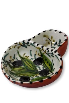 "This Casafina Olive Bowl is beautiful, hand-painted and hand-thrown Portuguese stoneware where no two pieces are exactly alike! This piece allows you to use one half for serving olives and the other a place to put the discarded olive pits......decorative and useful!    Measures: 5"" L x 4 1/2"" W   Casafina Olive Bowl by D'Accord Boutique. Home & Gifts - Home Decor - Dining - Serveware West Virginia"