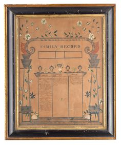 """Selkirk Auctioneers  19TH CENTURY FAMILY RECORD.  Showing births, marriages, and deaths on canon page format. 20.25""""h. 15.5""""w., framed, 23.5""""h. 19.25""""w.  Estimate $ 200-400"""